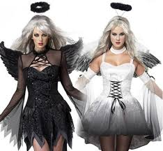 Halloween Costume Devil Woman Fashion White Black Dark Devil Fallen Angel Costume Women