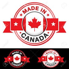 Canadian Flag Symbol Made In Canada Label And Icon With Ribbon And Central Glossy