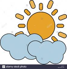 color image cartoon sun and cloud weather icon stock vector art