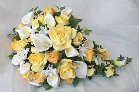 white calla roses white calla lilies cascading bouquet
