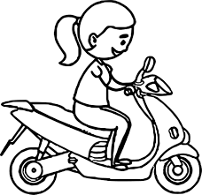 riding on blue scooter coloring page wecoloringpage