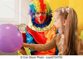 clown balloon amusing clown give air balloon to the girl clown in