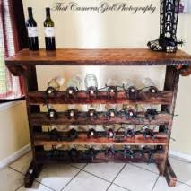 rustic wine bar with horseshoe wine rack vintage art
