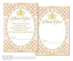 printable thank you cards princess princess baby shower thank you cards gold and pink princess thank