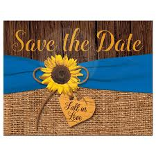 sunflower ribbon sunflower on faux burlap printed blue ribbon save the date card