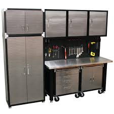 Garage Storage Cabinets Exterior Workbench With Storage Cabinets Workshop Shelving Systems