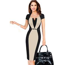 modele de robe de bureau optical illusion contrast belted 2017 autumn vintage slim work