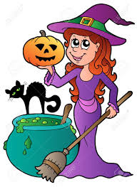 cartoon halloween witch with cat illustration royalty free