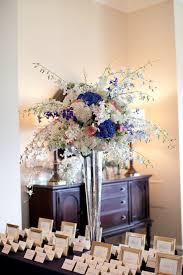 cornflower blue and white tall centerpiece elizabeth anne