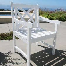 White Wood Outdoor Furniture by White Outdoor Dining Chairs Patio Chairs The Home Depot