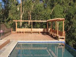 Wood Bench Plans Deck by Craftsman Wood Pool Deck With Arbor U0026 Bench A Malibu Deck Builder