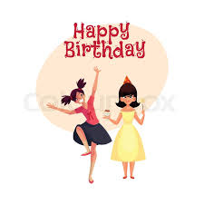 birthday girl happy birthday vector greeting card poster banner design with