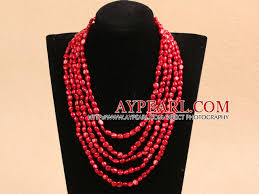 beaded necklace clasps images Multi strands 8 9mm irregular shape red coral beaded necklace with jpg