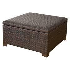 wicker brown indoor outdoor storage ottoman walmart com