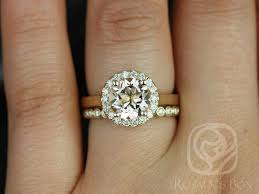 white gold engagement ring with yellow gold wedding band rosados box feema 8mm bubbles yellow gold morganite