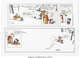 auction calvin and hobbes sunday goes for 10 000 in
