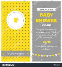 baby shower invitation yellow white gray stock vector 216672412