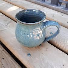 Denim Home Decor Pottery Tea Denim Dark Blue Black Rim Rounded 3 Inches High Home