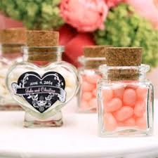 wedding favor jars heart or square shaped glass favor jars glass and