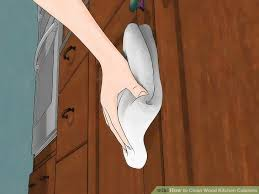 Cleaning Grease Off Kitchen Cabinets 3 Ways To Clean Wood Kitchen Cabinets Wikihow