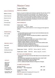 banking loan resume officer resume example loan officer resume