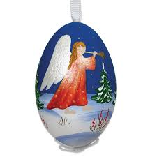 painted signed turkey egg ornament