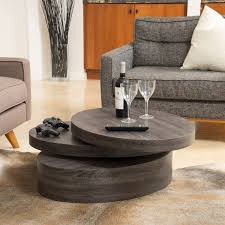 Oval Wood Coffee Tables Carson Oval Mod Rotating Wood Coffee Table By Christopher