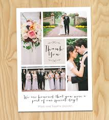 wedding thank you cards printable wedding thank you photo collage custom cards by