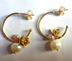 gold hoop earrings uk flower and pearl hoop earrings by becca jewellery