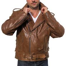 motorcycle jacket vest men u0027s retro brown buffalo hide classic leather motorcycle jacket