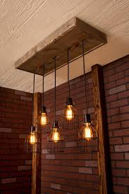 Kitchen Dining Room Lighting Ideas Industrial Lighting Cage Light Chandelier Black With Reclaimed