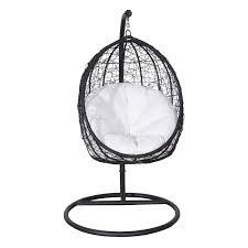 Garden Egg Swing Chair Outsunny Rattan Nest Chair W Cushion Black Aosom Co Uk