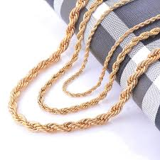 aliexpress necklace statement images Width 2 4 6mm stainless steel gold rope chain necklace statement jpg
