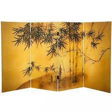 Canvas Room Divider 3 Ft Tall Double Sided Bamboo Tree Canvas Room Divider