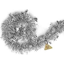 silver tinsel garland tree decorations