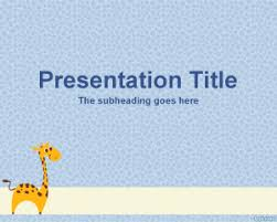 free giraffe powerpoint template with light blue background and