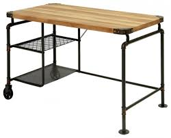 Wire Computer Desk Industrial Antique Black Metal Writing Desk With Wood Top Wire