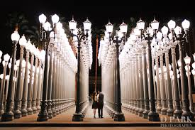 light display los angeles santa monica pier and lacma los angeles engagement linda danny