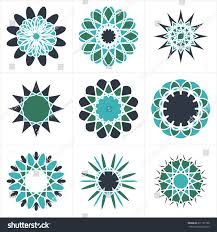 geometric decorative elements linear ornamental symbols stock