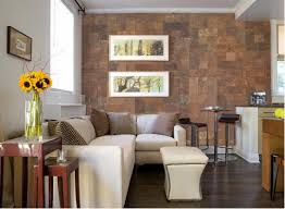 wall living room design ideas with white sofa and wood side table