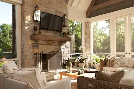 Screen Porch Fireplace by Screened Porch Timber Mantel Natural Light Sconces Outdoor
