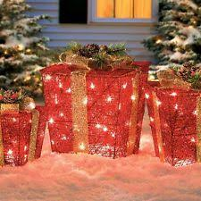 pre lit christmas gift boxes lighted christmas presents ebay