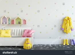 mock wall child room interior interior stock illustration