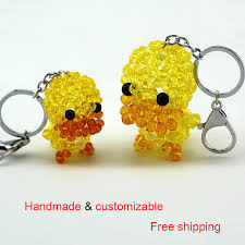 crystal key rings images 2 pcs lot promotion fashion auto keychain handmade yellow red jpg