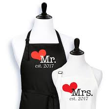 his and hers wedding gifts mr and mrs aprons est 2017 his and hers wedding