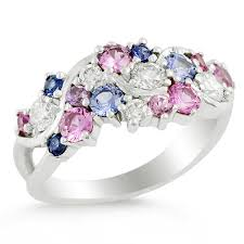 blue sapphires rings images 14k white gold pink and blue sapphire ring mark michael diamond jpg