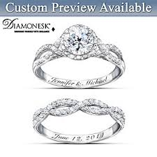 Personalized Engraved Rings Ring Set Entwined Diamonesk Personalized Bridal Ring Set