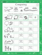 comparing size shape and weight math practice worksheet grade