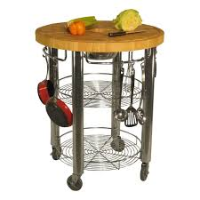 modern portable round rolling butcher block table on wheels with