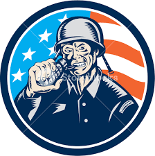 Blue Flag Stars In Circle Illustration Of A World War Two American Soldier Serviceman Biting